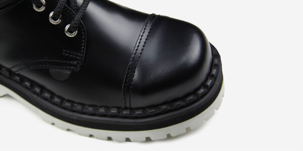 Underground England Tracker black leather steel toe cap shoe with white sole for men and women