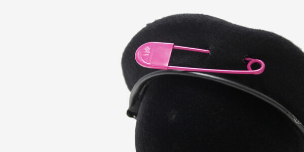 UNDERGROUND WINDSOR WOOL BERET WITH BIG PINK SAFETY PIN FOR MEN AND WOMEN