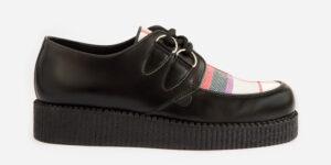 Underground Original Wulfrun Creeper black leather and dress Stuart tartan shoe for men and women
