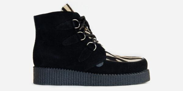 UNDERGROUND ORIGINAL WULFRUN CREEPER BOOT – BLACK SUEDE & ZEBRA PRINT – BOOTS FOR MEN AND WOMEN