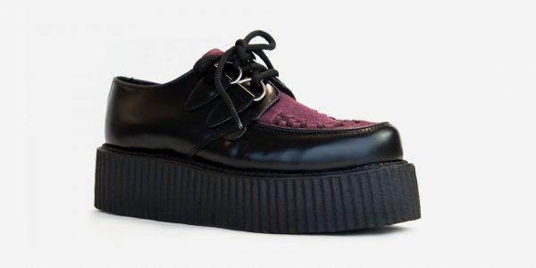 Underground Original Wulfrun Creeper black leather and burgundy suede shoe for men and women