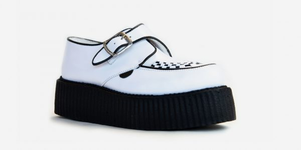 Underground Original King Tut Creeper white leather buckle shoe for men and women