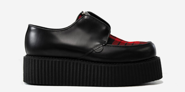 Underground Original Creeper black leather and Macqueen Tartan with zip shoe for men and women