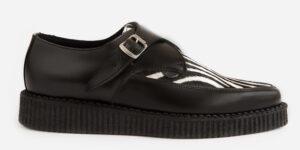 Underground Original Apollo Creeper Black leather and zebra print pony buckle shoe for men and women