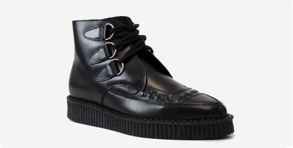 Underground England Pointed Creeper black leather and interlace boot for men and women