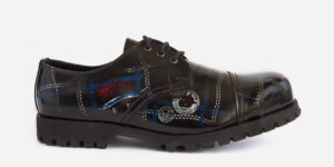 Underground England Tracker leather rub-off tartan leather steel toe cap leather shoe for men and women
