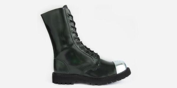 COMMANDO – 10 EYELET EXTERNAL STEEL CAP BOOT – GREEN RUB-OFF LEATHER – SINGLE SOLE