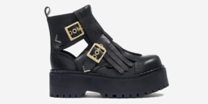 Underground England steel cap buckle ankle boot black leather buckle for men and women