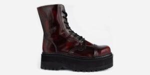 Underground Original Steel Cap Stormer burgundy rub off leather combat boot for men and women