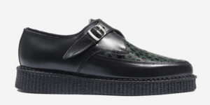 Underground Original Apollo Creeper Black leather and green leopard print pony buckle shoe for men and women