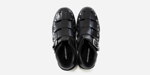 Underground Original Creeper black leather sandal with strap for men and women