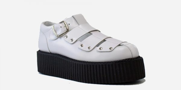 Underground Original Creeper white leather sandal with strap for men and women