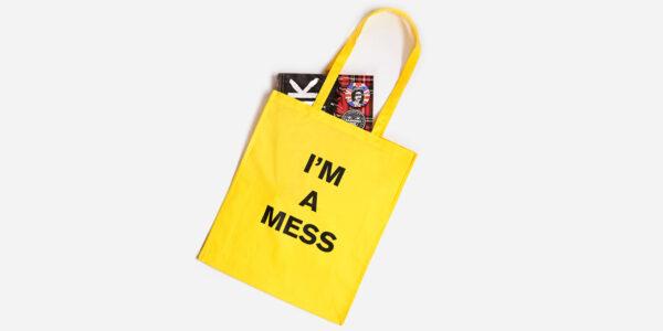 I'm a mess tote yellow