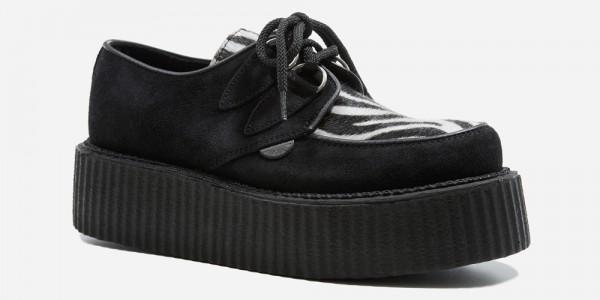 Underground Original Wulfrun Creeper black suede leather with zebra print pony hair shoe for men and women