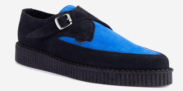 Underground Original Apollo Creeper black suede and royal blue velvet buckle shoe for men and women
