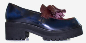 UNDERGROUND LEX – CHUNKY TASSLE LOAFER – BURGUNDY CROC & NAVY RUB OFF LEATHER – CUSTOM MADE SHOES FOR MEN AND WOMEN