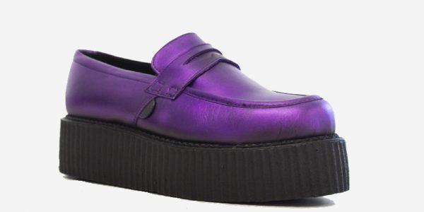 Original Underground creeper loafer purple metallic leather shoe for Men and Women