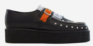 Original Underground Wulfrun black sky blue and orange grain leather pointed toe loafer with fringe for men and women