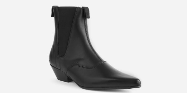 Underground England Freddy Winklepicker black grain leather boot for men and women