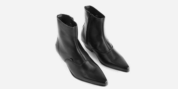 Underground England Marlon Winklepicker black leather boot for men and women