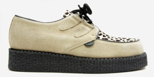 Underground Original Wulfrun Creeper beige suede and leopard print shoe for men and women