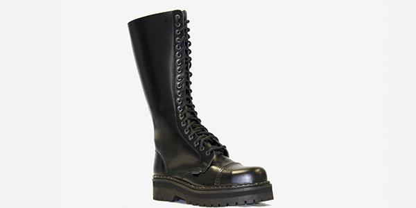 Underground Original Steel Cap Gripper Black leather knee length combat boot for men and women