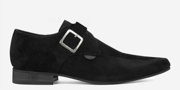 Underground England Winklepicker black suede single square buckle shoes for men and women