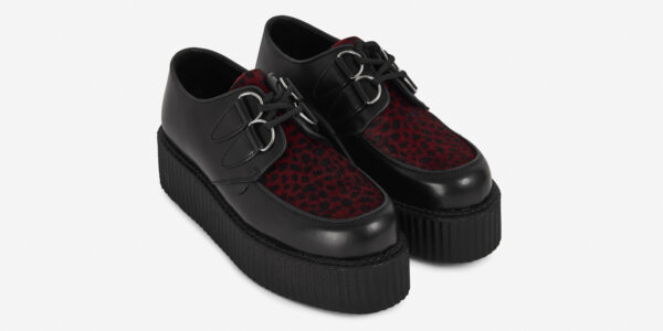 Underground Original Wulfrun Creeper black leather and red and black leopard pony hair shoe for men and women