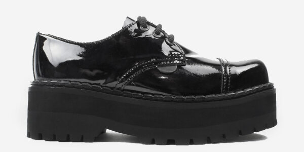 Tracker black patent leather leather steel toe cap shoe with three eyelets for men and women