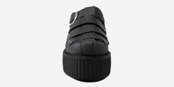 front view pinatex black sandal