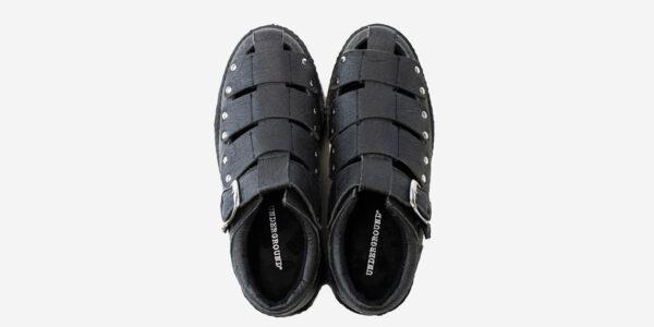 top view. pinatex black sandal