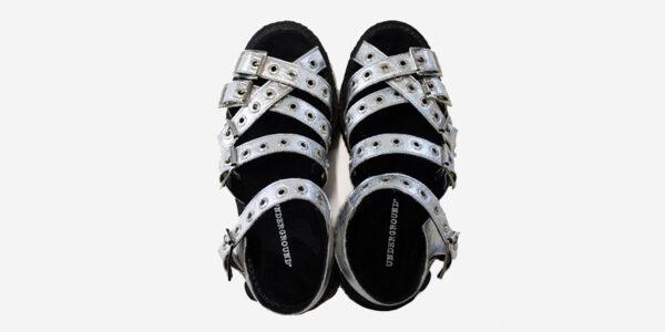 above view silver pinatex sandal