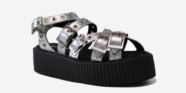 angle view silver pinatex sandal