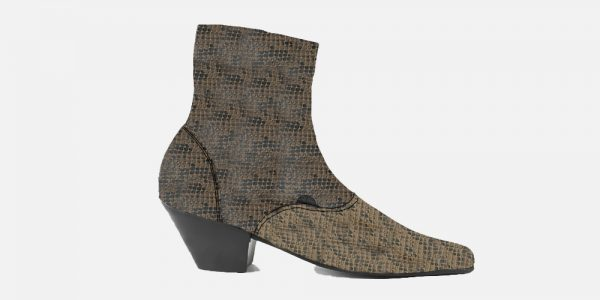Underground England Marlon Winklepicker brown snake skin print leather boot with zip for men and women