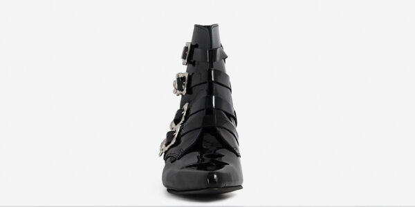 Underground England Peck Winklepicker black patient leather and silver skull buckles boot for men and women