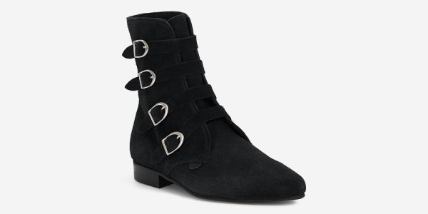 Underground England Peck Winklepicker black suede and silver plain buckles boot for men and women