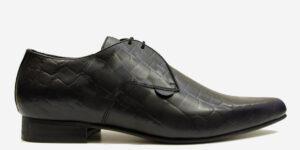 Underground England Paul Winklepicker black crocodile print leather shoe for men and women