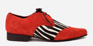 Underground England Paul Winklepicker red suede and zebra pony hair shoe for men and women