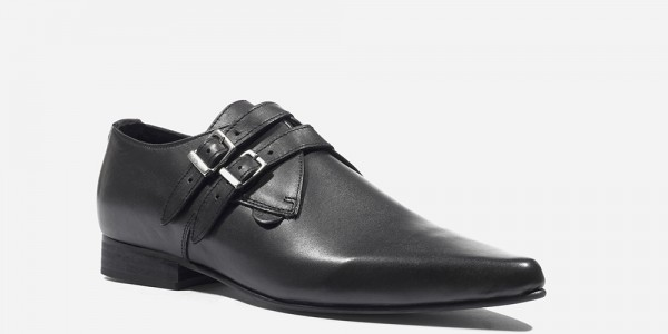 Underground England Howard Winklepicker black grain leather 2 strap shoe for men and women