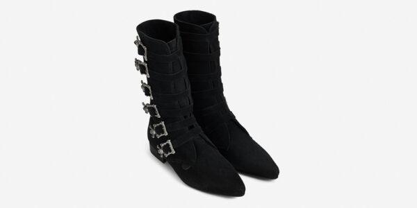 Underground England Bogart Winklepicker black suede leather 6 skull buckle calf boot for men and women