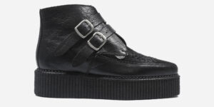 Underground Original Bowie Creeper black crocodile leather and black pony boot with plain buckles for men and women