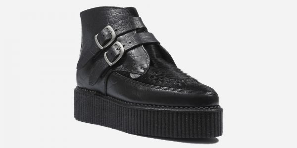 Underground Original Bowie Creeper black crocodile leather and black pony boot plain buckles for men and women