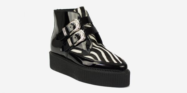 Underground Original Bowie Creeper black crocodile leather and black and white zebra pony boot with western buckles for men and women