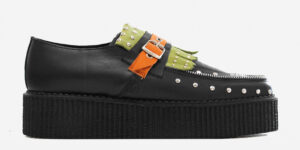 Original Underground Wulfrun black green and orange grain leather pointed toe loafer with fringe for men and women