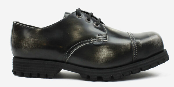Underground England Tracker steel toe cap black and white rub-off leather shoe for men and women