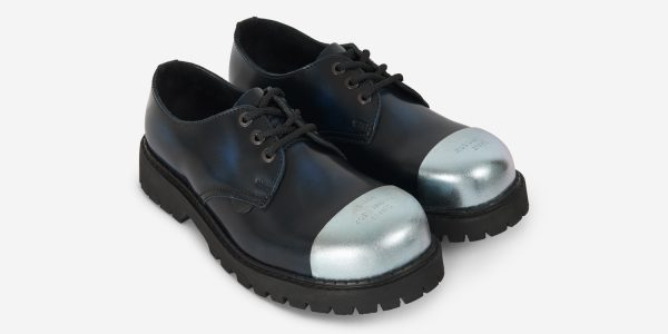 Underground England Tracker navy rub-off leather external steel toe cap leather shoe for men and women