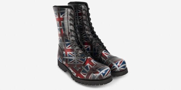 Underground Original Steel Cap Commando Union Jack rub-off leather combat boot for men and women
