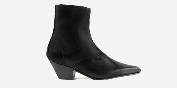 Underground England Marlon Winklepicker black grain leather boot with zip for men and women