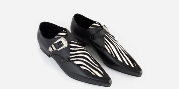 Underground England Winklepicker black leather and zebra pony hair single western buckle shoes for men and women