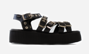 Underground Original Creeper black grain leather sandal with straps for men and women